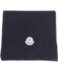 Moncler - Dark Blue Knitted Scarf - Lyst