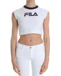 Fila - White Pia Top With Logo - Lyst