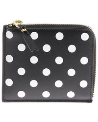 Comme des Garçons - Black Leather Pouch With Polka Dots Print - Lyst