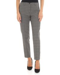 Seventy - Black And Beige Jacquard Trousers - Lyst