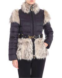 Elisabetta Franchi - Black Padded Quilted Jacket With Branded Belt - Lyst