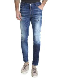 DSquared² - Skinny Jeans In Blue With Multicolour Spots Of Colour - Lyst