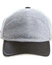 Fedeli - Cappello grigio con dettagli in pelle - Lyst