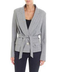 Erika Cavallini Semi Couture - Grey Single Button Striped Jacket - Lyst