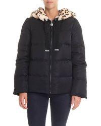 Blumarine - Black Down Jacket With Animalier Fur - Lyst
