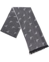 Emporio Armani - Grey Branded Fabric Scarf - Lyst