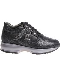 Hogan - Interactive Black Sneakers With Rhinestones - Lyst