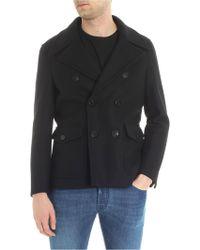 Neil Barrett - Black Wool Double-breasted Coat - Lyst