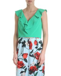 Alice + Olivia - Top crop con rouches verde - Lyst