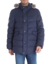 Herno - Blue Silk And Cashmere Down Jacket - Lyst