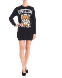 Moschino - Black Dress With Safety Pin Prints - Lyst