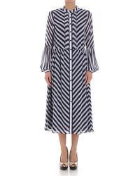 Michael Kors - Striped Blue And White Dress - Lyst