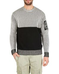Stone Island - Two Tone Ribbed Detail Jumper - Lyst