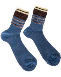 Fendi - Blue Cotton Knitted Socks - Lyst