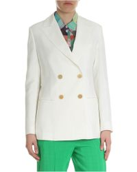 Erika Cavallini Semi Couture - Double-breasted Jacket In Ivory White - Lyst