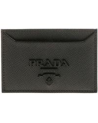 Prada - Leather Branded Card Holder - Lyst