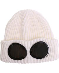 C P Company - Cream Color Glasses Knitted Cap - Lyst