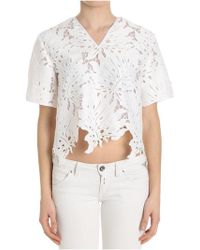 MSGM - White Pierced Top - Lyst