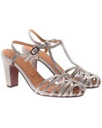 Chie Mihara - Platinum Colored Leather Sandals - Lyst