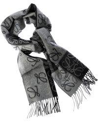 Loewe - Gray And Black Branded Scarf - Lyst