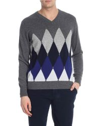 Ballantyne - Cashmere Pullover With Diamond Inlay - Lyst