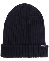 Woolrich - Blue Beanie With Logo - Lyst