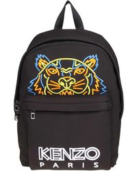 c786445f KENZO - Tiger Black Backpack With Neon Logo - Lyst