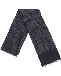 Isaia - Houndstooth Charcoal Scarf - Lyst