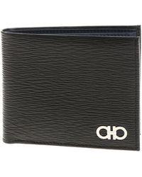 Ferragamo - Black Gancini Leather Wallet - Lyst