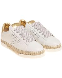 Tod's - White And Golden Sneakers - Lyst
