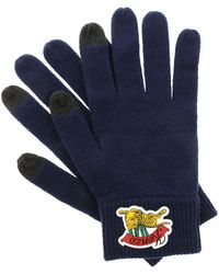 KENZO - Blue Touch Screen Gloves With Rubberized Logo - Lyst
