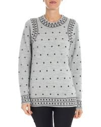 Michael Kors - Melange Grey Sweater With Studs - Lyst