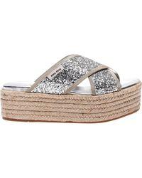 Miu Miu - Wedge Sandals With Glitter - Lyst