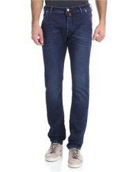 Jacob Cohen Jeans blu con logo marrone