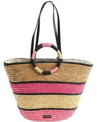 Rebecca Minkoff - Beige And Pink Striped Straw Bag - Lyst
