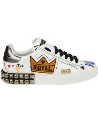 Dolce & Gabbana - Portofino Sneakers With Lettering And Studs - Lyst