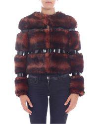 Elisabetta Franchi - Pink And Black Eco-fur Coat - Lyst
