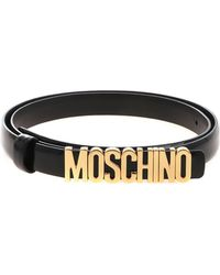 Moschino - Black Belt With Golden Logo - Lyst