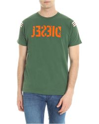 DIESEL - Green T-shirt With Destroyed Effect Logo - Lyst