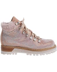 Le Silla - Pink St. Moritz Ankle Boots With Crystal Rhinestones - Lyst