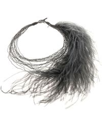 Fabiana Filippi - Giorgia Necklace With Graphite Colored Feathers - Lyst