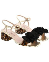 Alberto Gozzi - Golden Sandals With Fringes - Lyst