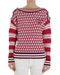 Karl Lagerfeld - Red And White Captain Karl Sweater - Lyst