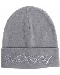 Woolrich - Grey Beanie With Embroidered Logo - Lyst