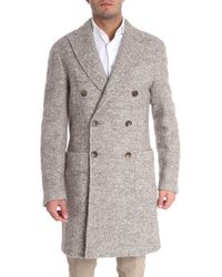 Etro - Melange Beige Double-breasted Coat - Lyst