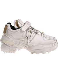 Maison Margiela - Vintage Effect White Sneakers With Velcro - Lyst