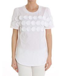 Piccione.piccione - Daisy Embroidered T-shirt - Lyst