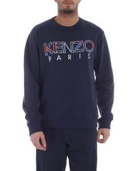 fba079adf KENZO - Ink Navy Text Crew Neck Sweatshirt - Lyst