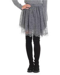 Ermanno Scervino - Grey Flared Multilayer Lace Skirt - Lyst