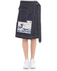 KENZO - Denim Skirt With Logo Embroidery - Lyst